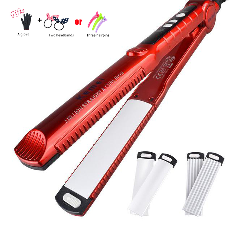 New 3 In 1 Hair Curler Straightener Iron Interchangeable Hair Curling Iron Hair Straightening Iron Corrugated Styling Tool C21 new arrival iron