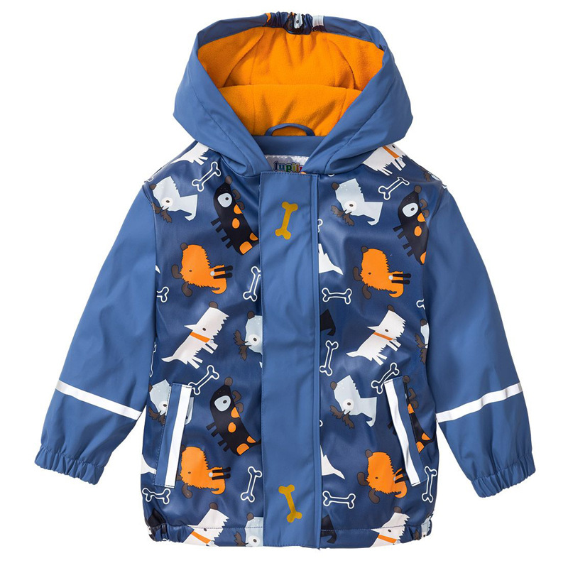 2020 Rain Boys Jacket PU Velvet Kids Raincoats Waterproof Poncho Children Outerwear Cartoon Windproof Outdoor Coats