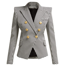 European style womens double breasted blazers jackets New 2019 spring elegant slim fit houndstooth coat women G146