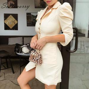 Image 4 - Sollinarry mode Mini robe femmes 2019 manches bouffantes boutons de fête robe Sexy dames col rond femme Vintage robe Vestidos