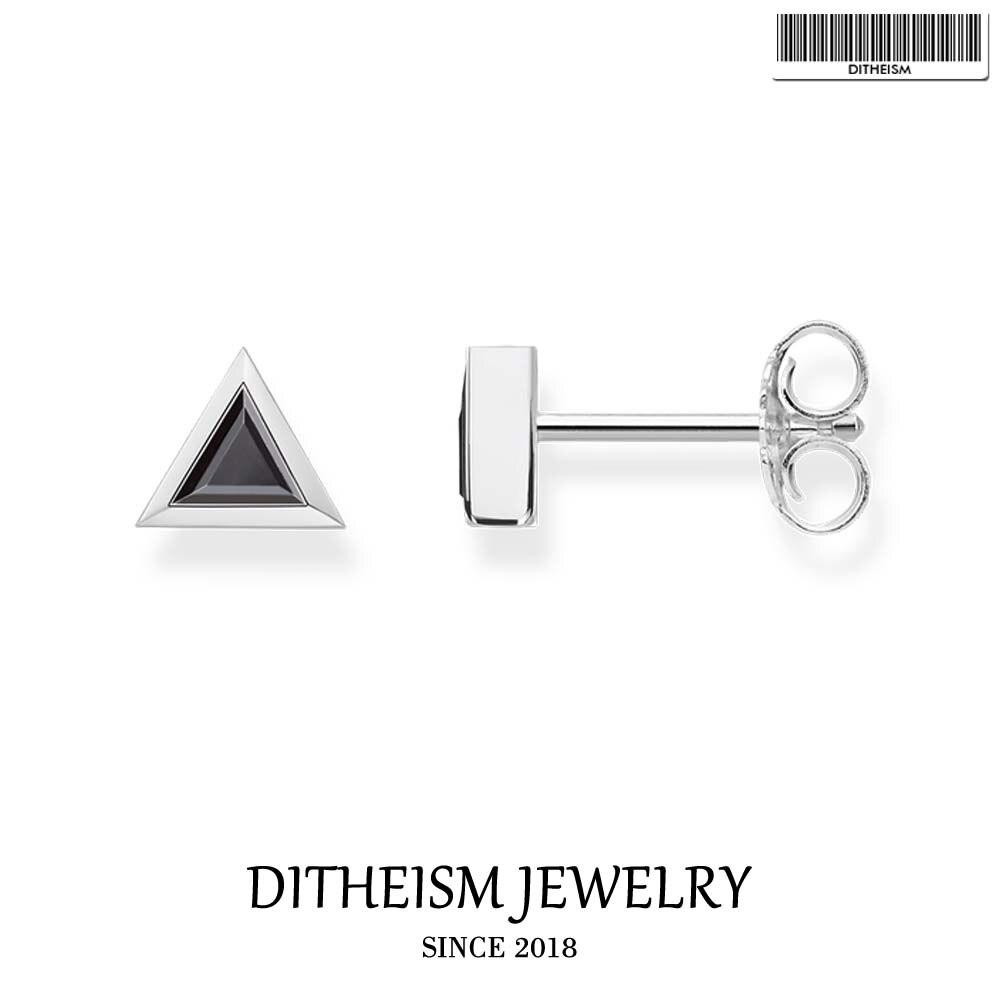 Triangle Black Filigree Ear Stud Earrings, 2018 New Fashion Jewelry Trendy 925 Sterling Silver Gift For Men Women Lover