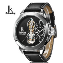 IK Colouring Big Dial Hollow Skeleton Mens Watches Top Brand Luxury Dual Movement Quartz and Mechanical Relogio Masculino
