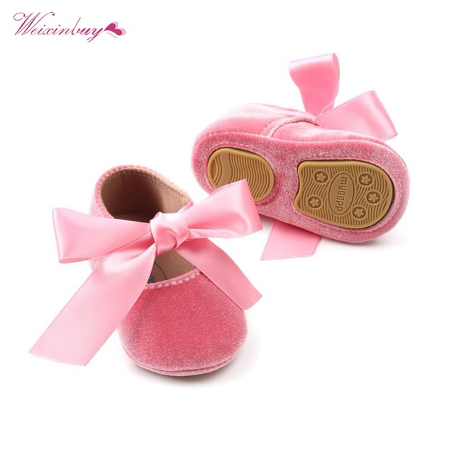 Baby Girl Shoes Riband Bow Lace Up PU Leather Princess Baby Shoes First Walkers Newborn Moccasins For Girls 4