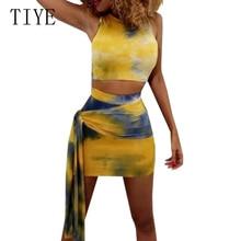 TIYE Retro Yellow Printed Sexy Two-piece Women Summer O Neck Sleeveless Bodycon Bandage Dresses Elegant Casual Beach Party Dress цена и фото