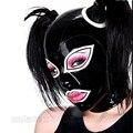 Черный и Белый Сексуальная Фетиш Латекс Капот с Двойной Ponytails Отверстия для Женщин LM004