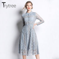 Trytree Spring Summer Dress Elegant Floral Lace Polyester women Stand Collar dresses Empire A line 2colors Mid Calf Casual Dress