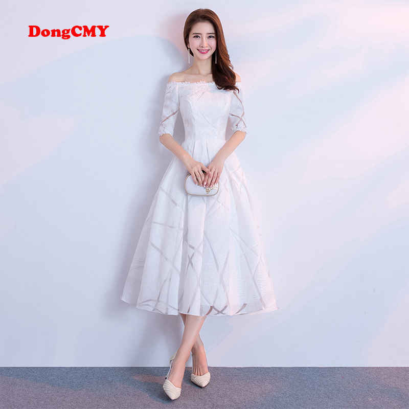 DongCMY 2019 New Arrival Celebrity Dresses Short Women White Color Party Prom Gown