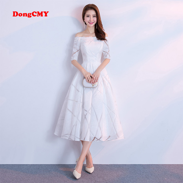 542d5c00f08 DongCMY 2019 New Arrival Celebrity Dresses Short Women White Color Party  Prom Gown