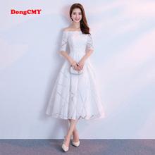 DongCMY 2020 New Arrival Celebrity sukienki krótkie kobiety biały kolor na imprezę bal suknia tanie tanio Wysoka Poliester Bez rękawów Kostek REGULAR Satyna NONE simple -Line