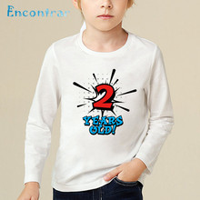Birthday Boy Number 1 5 Letter Print Funny T Shirt Kids Casual Long Sleeve Tops