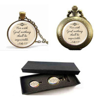 Jesus Jewelry Christian Necklace Pocket Watch With Free Box Faith With God Nothing Is Impossible Quote