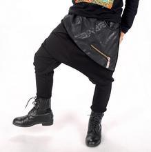 2017 Spring Autumn kids Costumes boys Girls harem Hip hop Trousers dance Black Patchwork Zipper Loose big crotch Pencil pants