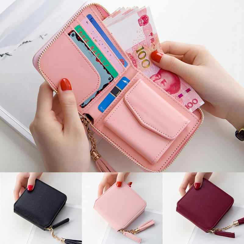 New Casual Coin Purses Carteira Wallet High Capacity Female Leather Tassel Pendant Money Wallets Portefeuille Femme Clutch Bag