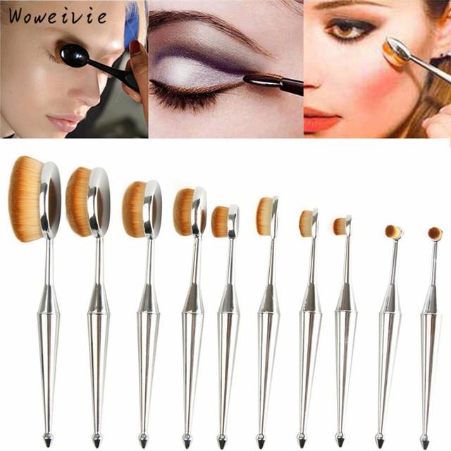Escova de Dentes de alta Qualidade 10 PCS Moda A Nova Sereia Pincéis de Maquiagem Fundação Escova Oval Um Conjunto Frete Grátis