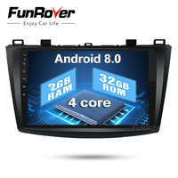 Funrover 2 Din Android 8.0 OS Car DVD Player Autoradio GPS Navigation for Mazda 3 Axela 9 inch bluetooth elink wifi rds No DVD