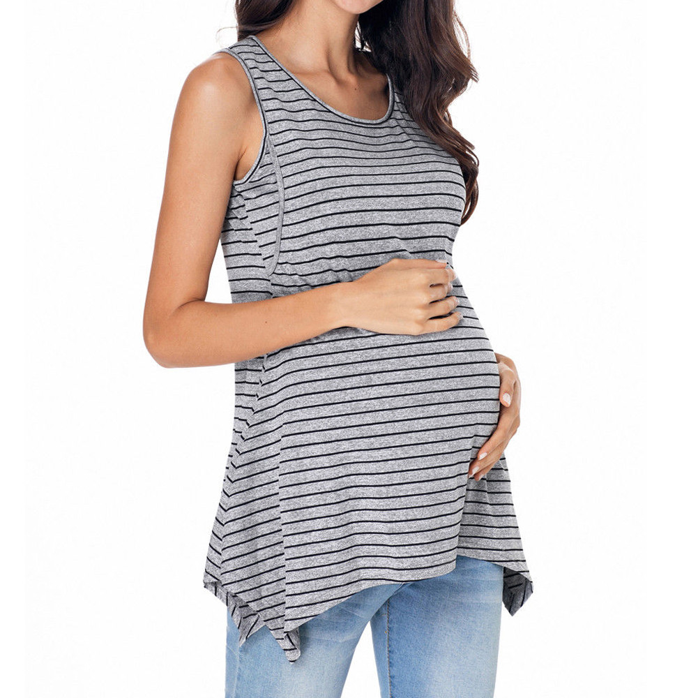 Sexy Summer Women Pregnant Stripe Maternity Clothes Nursing Breastfeeding Vest Top Blouse Sleeveless ComfortableT-shirt Vest faux pearl bead circle hoop earrings