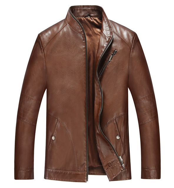 Hot New 2019 Autumn Winter Men's Pu Leather Jackets Coats Motorcycle Leather Jacket Male Stand Collar Business Leather Clothing