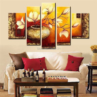 hand painted modern oil painting pictures for living room yellow flowers canvas wall painting golden home decorations parlor art