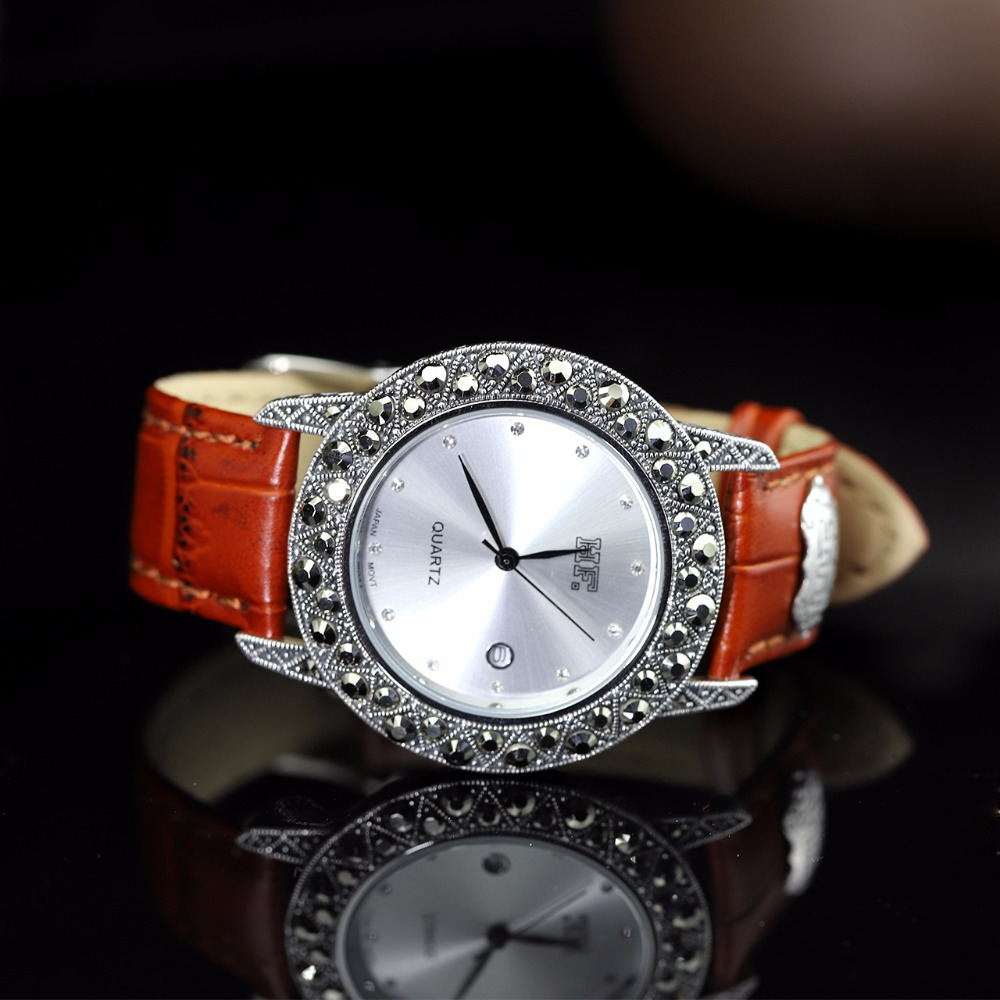 New Arrival S925 Pure Silver Lover`s Watch Leather Band Classical Lovers Thai Silver Bracelet Thailand Process Rhinestone Bangle