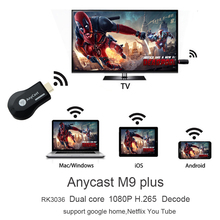 New HFLY Anycast m9 plus wifi tv stick chromecast netflix,hulu,Youtube,RK3036 support mircast/ airplay/ dlna/chromecast