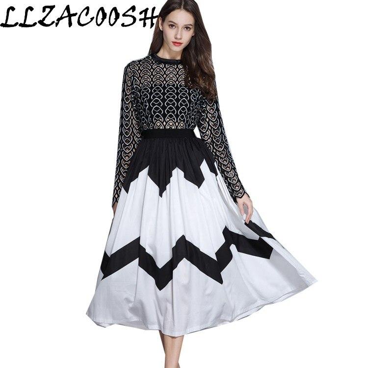 Robe autoportrait 2018 femmes élégantes évider Patchwork à manches longues robe en mousseline de soie plissée Boho longue robe Vestidos