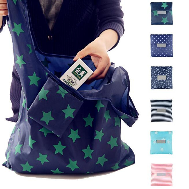 SALE Fashion Portable Women Shopping Bag Creative Printing Oxford Cloth Folding Ladies Bag Kitchen Storage Bags Home Accessories