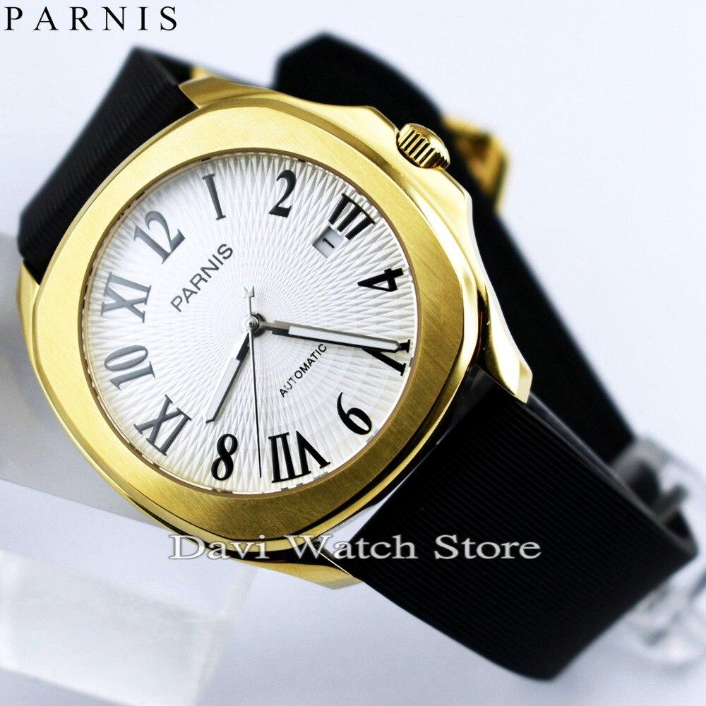 Новые 40 мм Parnis желтое золото корпус белый циферблат резинки Miyota автоматический механизм мужские часы