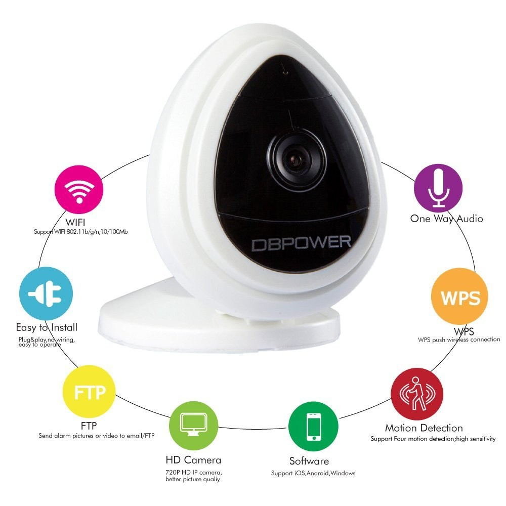 DBPOWER 720P IP Camera Wireless Security Cameras Built in Mic One