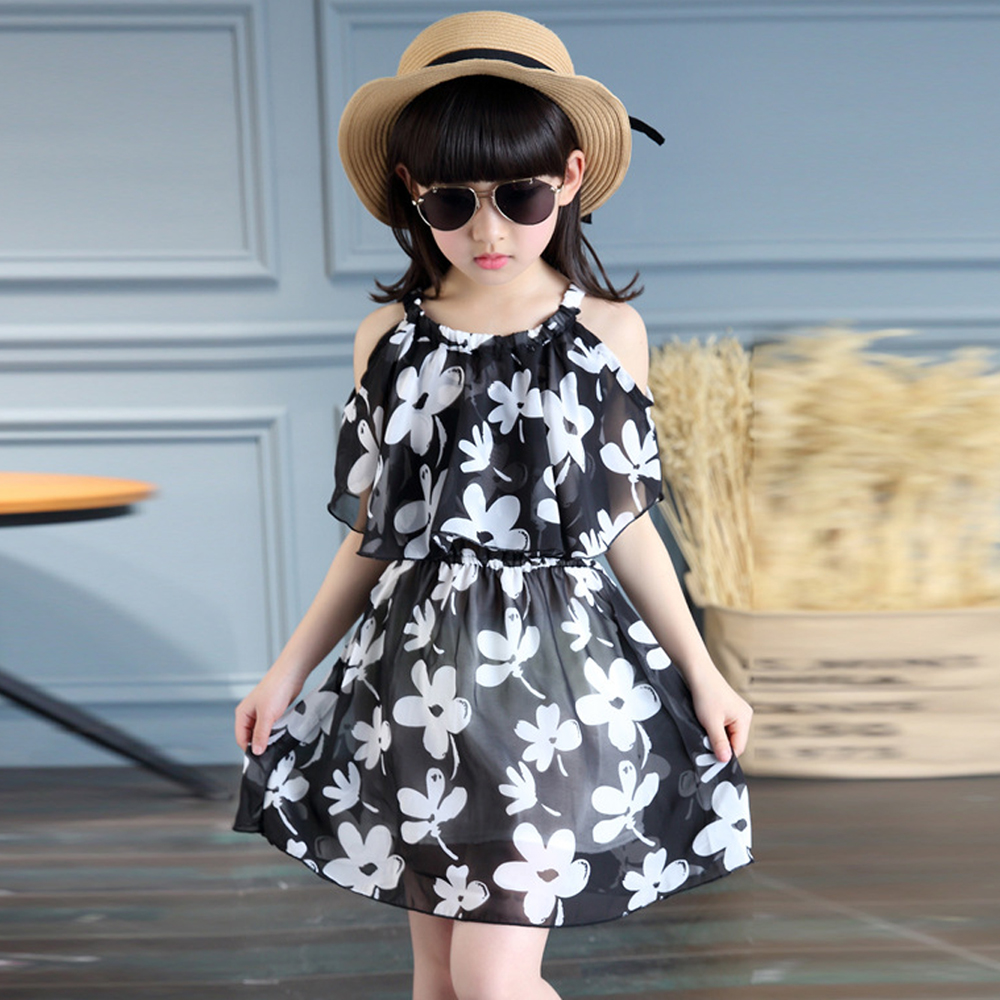 Teenage Girl Dresses Summer 2017 Children's Clothing Kids Flower Dress Chiffon Princess Dresses For Age 5 6 8 10 12 Years summer 2017 new girl dress baby princess dresses flower girls dresses for party and wedding kids children clothing 4 6 8 10 year