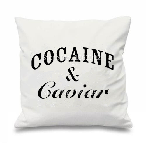 Cojines Con Frases Baratos Novelty Cocaine & Caviar Throw Pillow Cases Tumblr Hipster