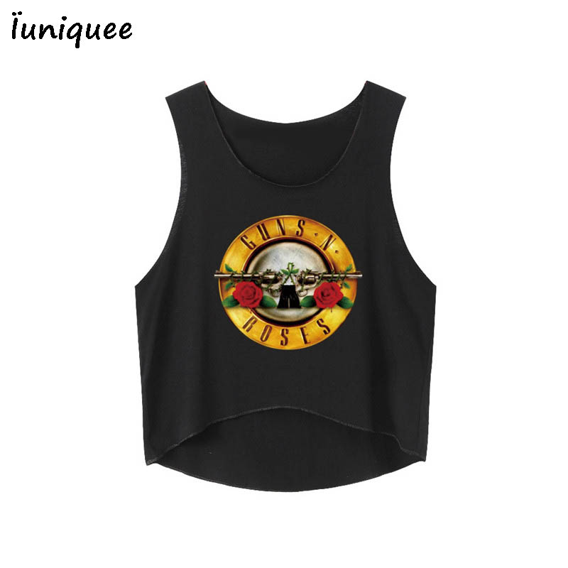 2017 Summer Short Tee Shirt Sexy Women Tanks GUNS N ROSES Print Crop Top Sleeveless T Shirt Cropped Tops Short Femme Hot Sale