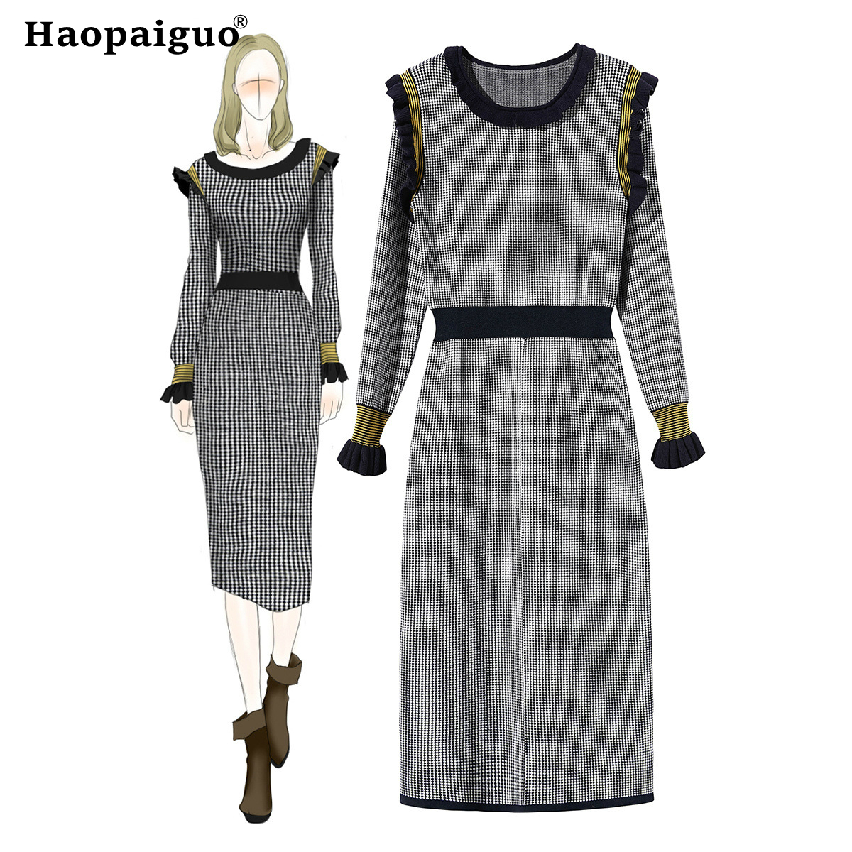Christmas Party Dress New Year 2019 for Women O-neck Long Sleeve Casual Pencil Dress Women Plaid Bodycon Dresses Ladies Vestidos