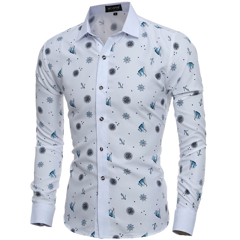 2016 Fashion Tiny Prints Mens Dress Shirts Long sleeve Slim Fit Casual Social Camisas Masculinas for Man Clothes Chemise homme