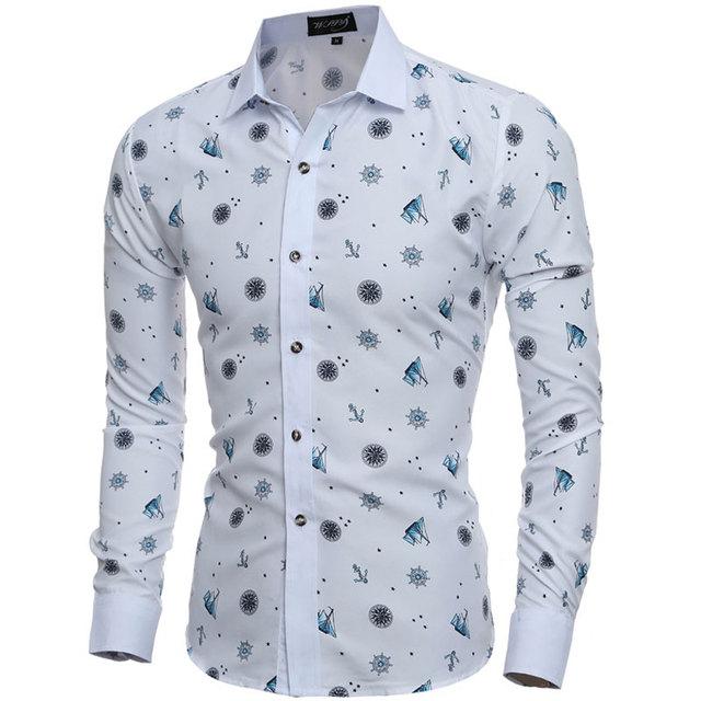 2016 mode Tiny Drucke Herren Hemden langarm Slim Fit Casual Social Camisas  Masculinas für Mann Kleidung 3f9f84c7e0