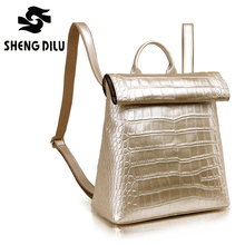 2016 European And American Style Portable Lady's Backpacks Elegant Crocodile Pattern Bags Luxury Genuine Leather Girl's Bag