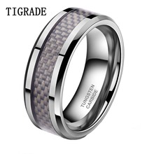 Purple Tungsten Ring Carbon Carbide Wood Inlay Classic Design Free Shipping Size 6-15