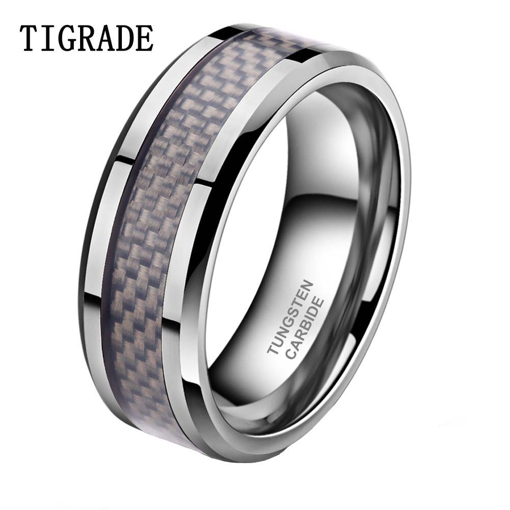 TIGRADE 8mm Carbon Fiber Inlay Tungsten Carbide Wedding Band Men Ring Polished Edges Engagement Rings For Women bague homme