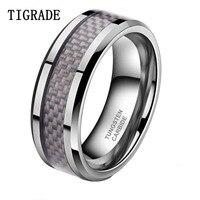 TIGRADE 8mm Koolstofvezel Inlay Tungsten Carbide Wedding Band Mannen Ring Gepolijste Randen Verlovingsringen Voor Vrouwen bague homme