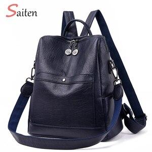 Image 3 - Saiten yüksek kaliteli deri kadın sırt çantası yeni 2019 moda sırt çantası kadın büyük kapasiteli okul çantası Mochila Feminina
