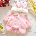 Crianças Bonitos Do Bebê Meninas Casaco de Inverno Luxo Espessamento da Pele Do Falso Com Capuz Jaqueta Meninas Do Bebê Da Orelha de Coelho Outerwear