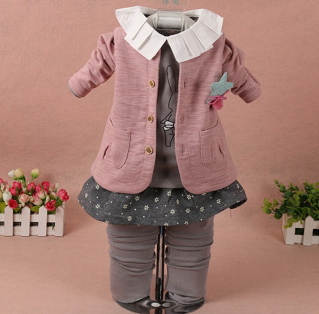 ФОТО 0-2Y new 2017 spring girls  cotton cardigan+t shirt+pant clothing sets 3pcs kids clothes sets baby girls dress suit set girl