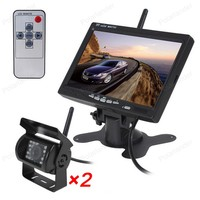 2.4 GHz wireless 7 Inch Car Parking Monitor With 2x 18 LED Rear View Camera remote control For Truck Trailer Bus