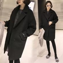 Autumn Winter Women Thick Long Woolen Coat Black Wool Jackets Solid Slim Warm Overcoat