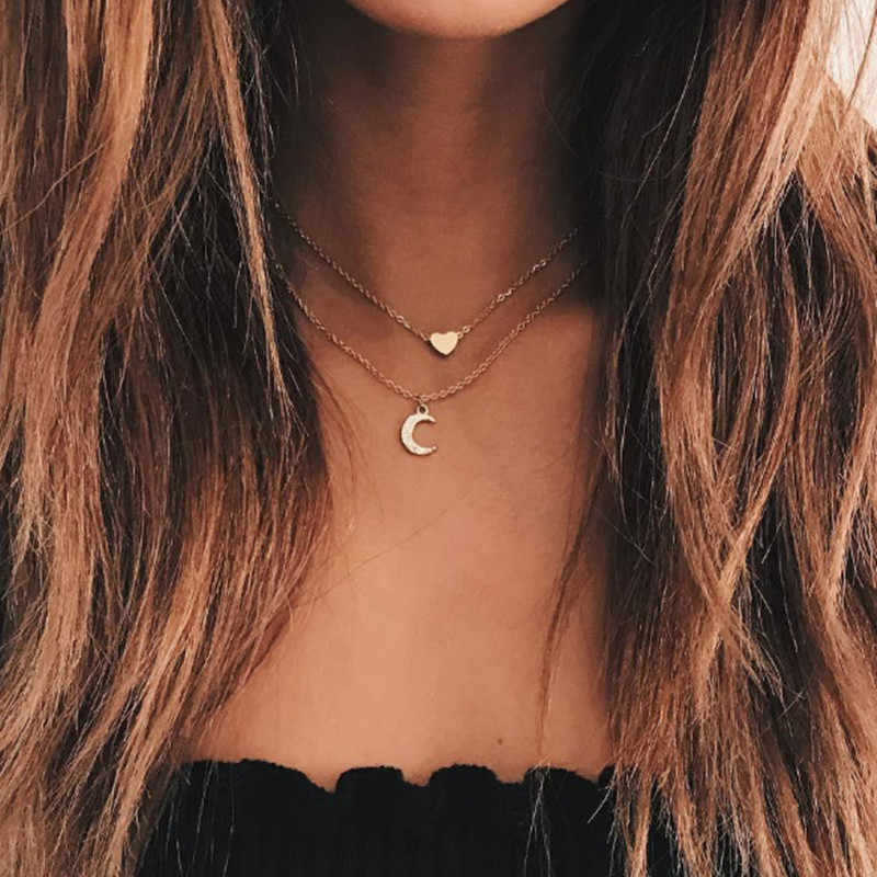 2018 new fashion Coin Gold layered Necklace for women charm necklace choker Vintage Round Short Necklace Wholesale A01
