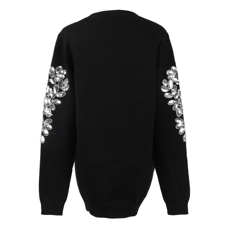 Tricot Noir Gruiiceen Paillettes Chandail Gy2018495 De Hiver Pulls O Femmes Luxe Designer cou Jumper zqagFzO