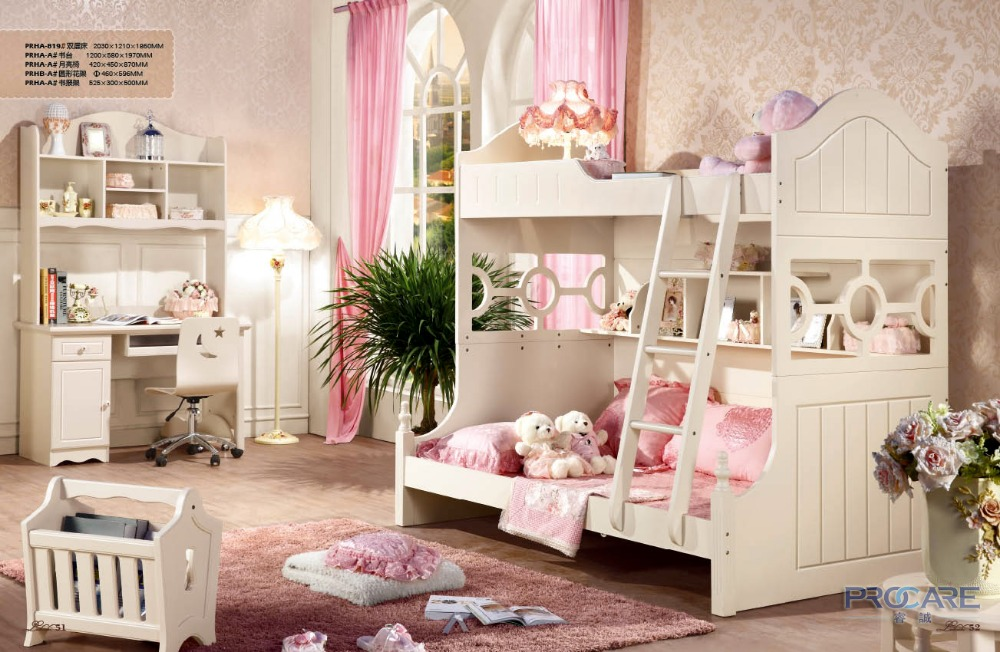Italian Style Bunk Bed Wooden Bedroom Furniture Set Price With Computer  Desk,chair,floor Stand And Display Cabinet PRF819