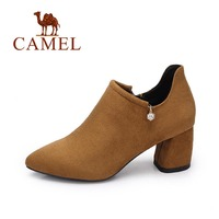 Camel Women S 2017 Autumn New British Style Comfortable Simple Fashion Pointy Toed High Heel Shoes