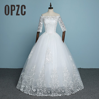 100% Real Photo 2020 New Arrival Engerla Half Sleeve Lace Wedding Dress Boat Neck Bride Gown Ball Gown Princess Simple Frock