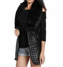 S-3XL Autumn Winter Sleeveless Blazer Black Leather Long Vest With Faux Fox Fur Collar Gilet Femme Cardigan Coat Women Chalecos