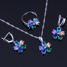 Gleaming Flower Multigem Multicolor Cubic Zirconia 925 Sterling Silver Jewelry Sets For Women Earrings Pendant Chain Ring V0256